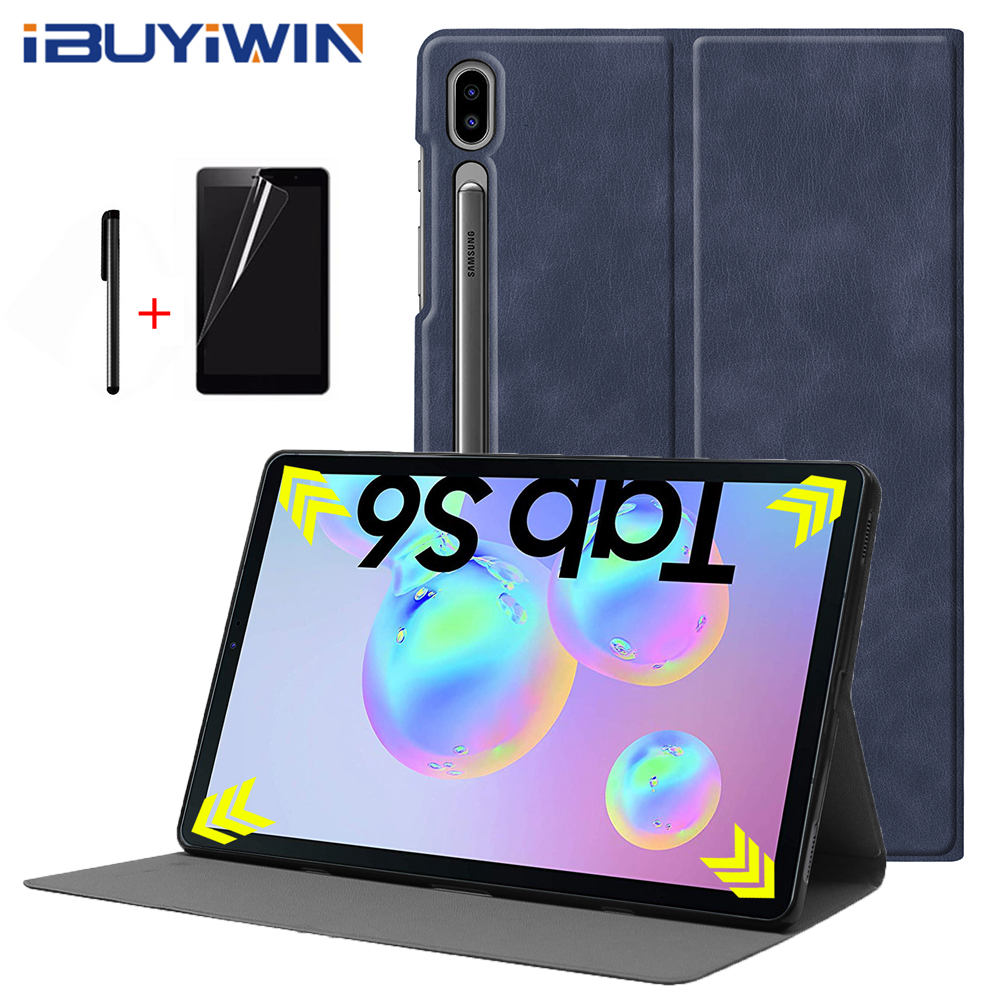 iBuyiWin Premium Smart PU Leather TPU Cover for Samsung Galaxy Tab S6 10.5 SM-T860 SM-T865 10.5 Tablet Funda Case+Film+Pen image