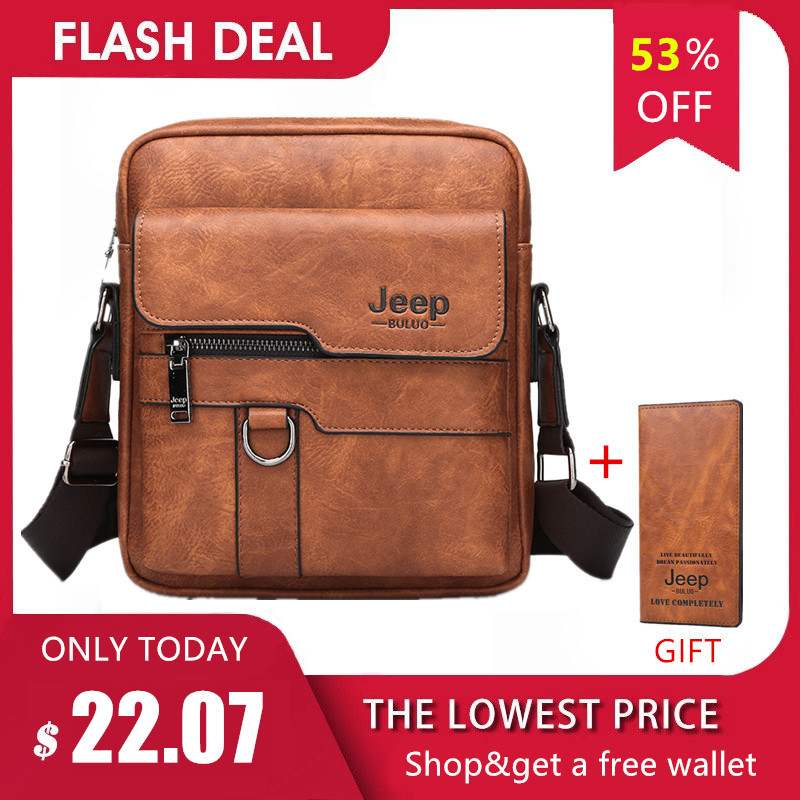 JEEP BULUO Luxury Brand Men Messenger Bags Crossbody Business Casual Handbag Male Spliter Leather Shoulder Bag Large Capacity 1