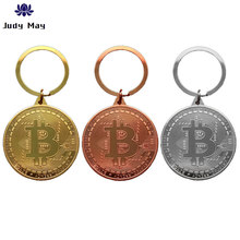 2020 plaqué Bitcoin porte-clés Collection Art Collection cadeau physique commémorative Casascius Bit métal Antique Imitation(China)
