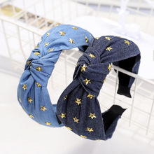 Xugar Gold Star Knot Headbands for Women Girls Solid Color Cowboy Hairbands Hair Accessories Fashion Hoop