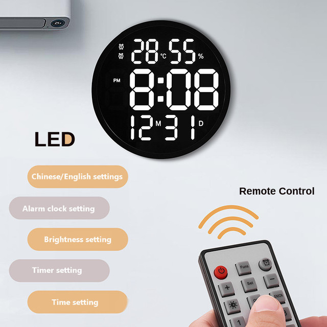 12 Inch LED Large Number Digital Wall Clock Temperature Humidity Countdown Electronic Alarm Clock Decoration Home Office Decor