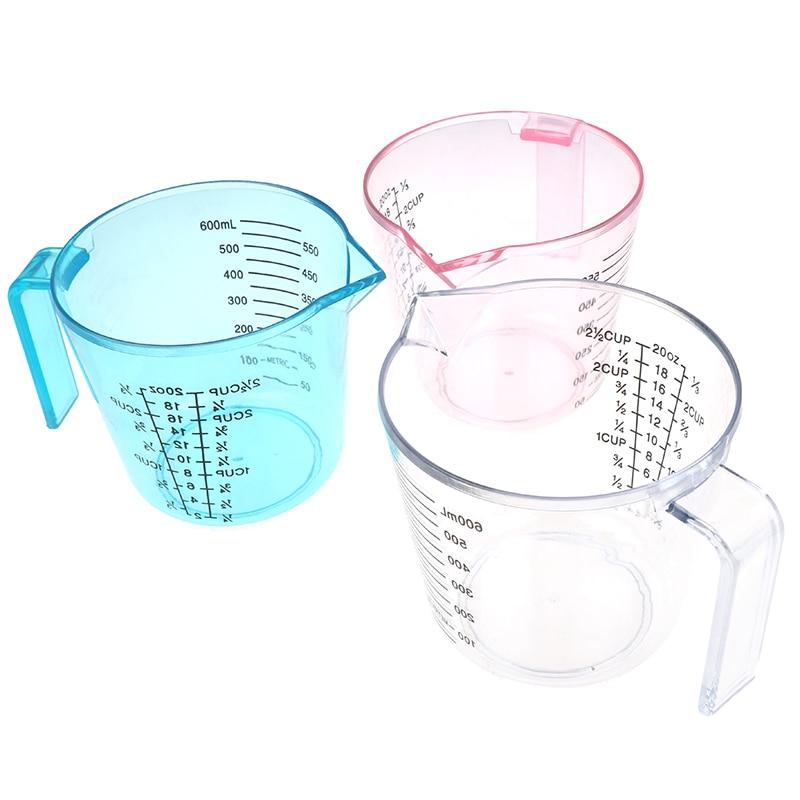 150/300/600ml copo de medição plástico escala clara mostrar caneca transparente derramar bico 3 tamanhos dispositivo de medição rosa/azul/claro|Copos de medição|   -