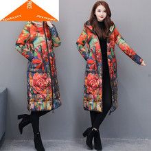 7XL Women's Fashion Jacket Winter Coat Female Clothes 2020 Long Floral Down Parka Hooded Ladies Overcoat Hiver 9959(China)