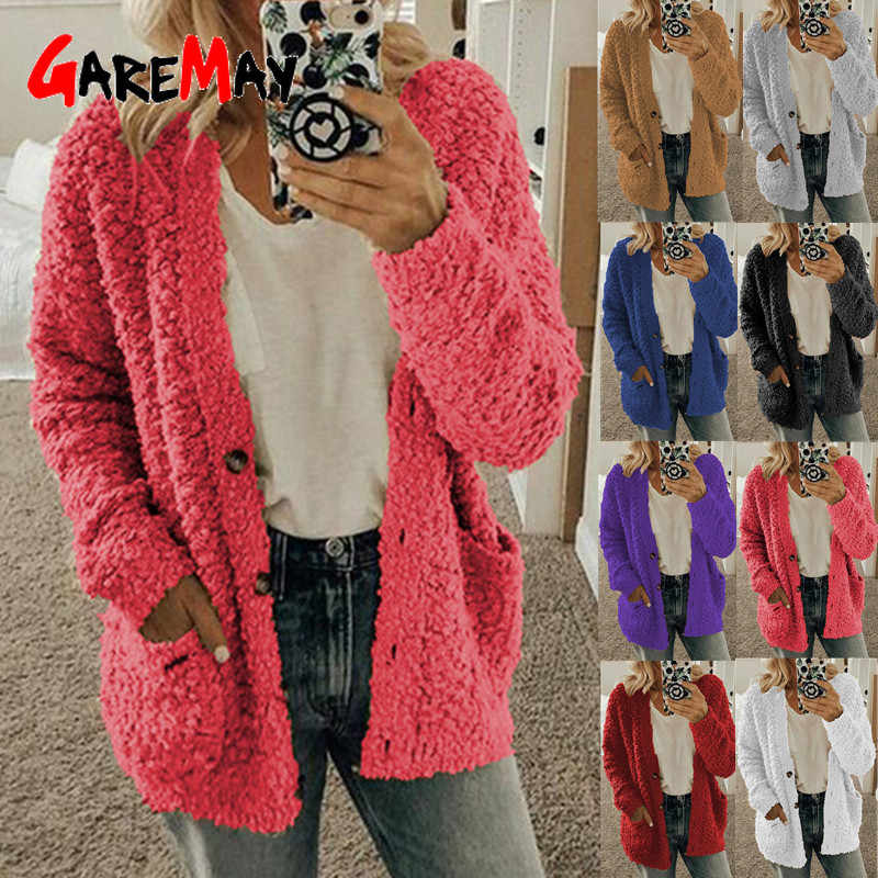 Autumn Winter Faux Fur Women Jacket Solid Pink Thick Warm Lamb Teddy Coat Oversize Dual Pocket Faux Fur Teddy Jacket Female