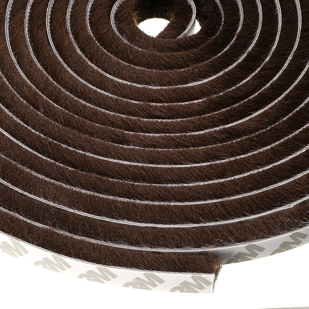10M Self Adhesive Seal Strip Door Draught Excluder Window Seal Film Door Brush Swal Weather Strip Protector Strip Brown