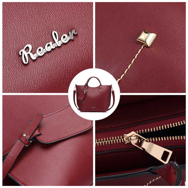 Bolso REALER para mujer, bolso grande de hombro, bandolera, bolso de cuero artificial para mujer, bolsos de mensajero con asa superior suave