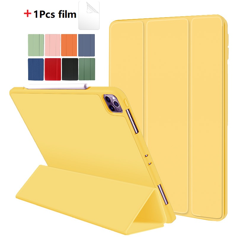 Yellow Yellow Protective Tablet Case For iPad Pro 11 Case 2020 with Pencil Holder Shockproof Stand Back Shell