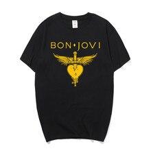 Summer Fashion Bon Jovi T Shirts Men Short Sleeve Cotton Rock Band T-shirts O Neck Pop Metal Man T-shirt Tops Camiseta OS-157