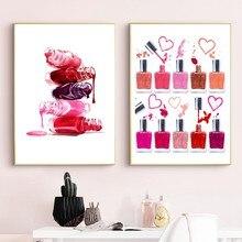 Ilustración de estampado maquillaje de esmalte de uñas, póster de belleza, decoración de baño, arte de tocador, lienzo, pintura, salón de uñas, decoración de pared