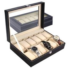Large 6 10 12 Grids PU Leather Watch Box Storage Professional Holder Organizer for Watches Jewelry Boxes Case Display Black tanie tanio Watch Boxes Fashion Casual 10cm New without tags BHD4 Rectangle 30cm Mixed Materials