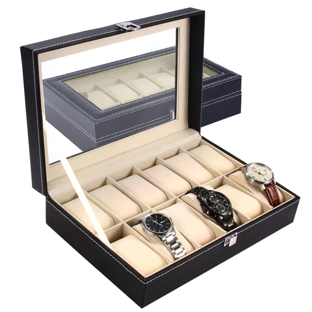 Large 6/10/12 Grids PU Leather Watch Box Storage Professional Holder Organizer For Watches Jewelry Boxes Case Display Black