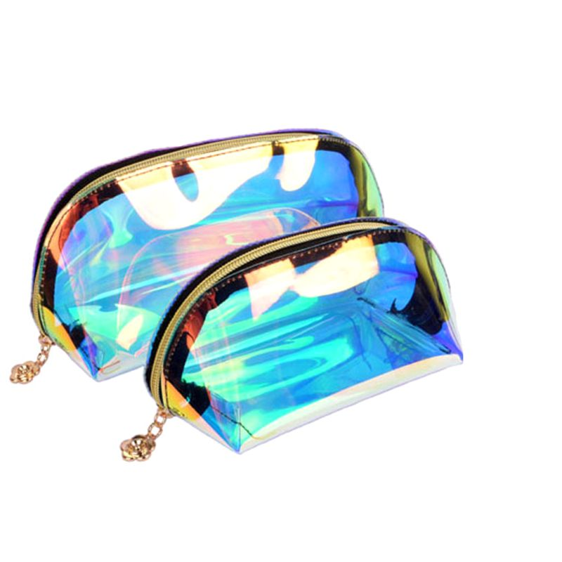 Waterproof Laser Cosmetic Bag Holographic WoMan Neceser Makeup Bag PVC Transparent Pouch Wash Toiletry Bag Travel Organizer Case