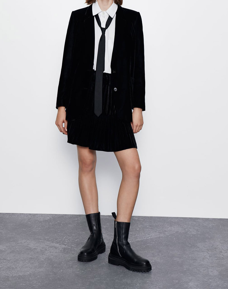 2020 Spring Women's Velvet Pleated Skirt Western Style Black And White With Pattern Drape Elastic Waist Elasticity Drape Skirt