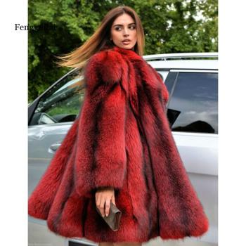 Fengguilai Winter fake Fox Fur Coat Women Whole Skin Genuine Female Jacket With Long Turn-down Collar Luxury