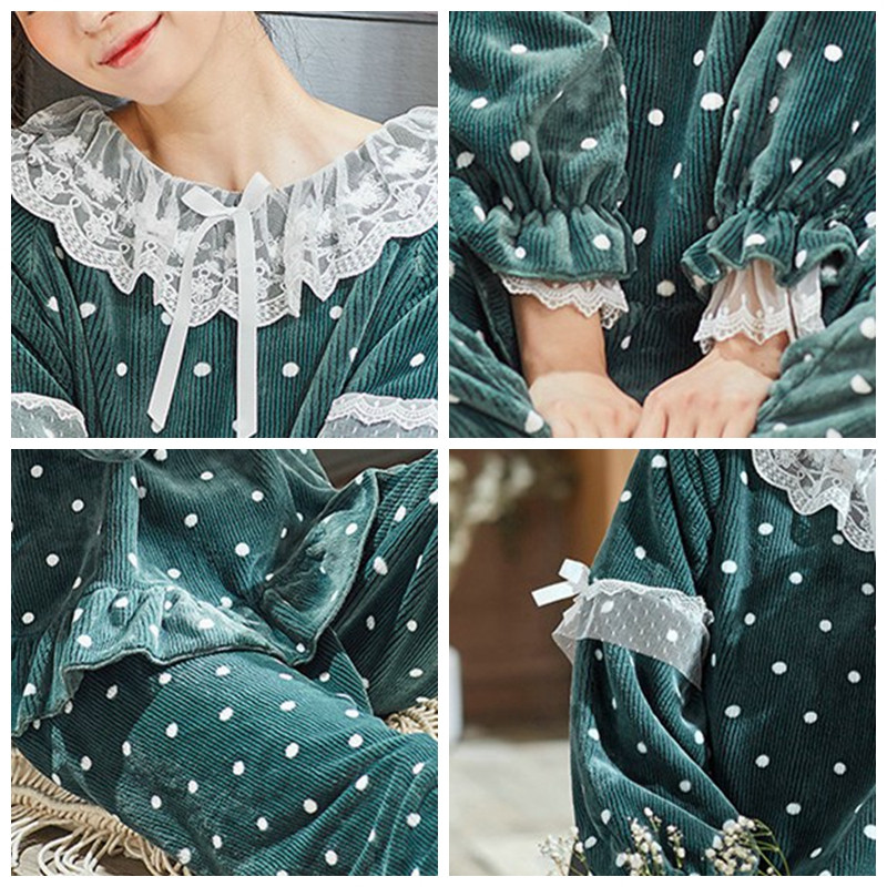 JULY'S SONG Women Cute Thick Flannel Pajama Sets Sleepwear Wave Autumn Winter Lace Pajamas Warm 2 Pieces Pajamas Homewear Suit 31