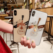 Jamular Glitter Guitar Phone Cases for iPhone 8 7 6 6s Plus X XR XS Max Fashion Bling Soft TPU Rubber Silicon Cover