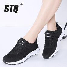 STQ Sneakers Women Flat Shoes Female 2020 Spring Casual Lace up Breathable Mesh Sneakers Ladies Shoes Women Walking Shoes A08
