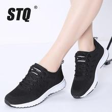 Tênis feminino stq, calçado plano para mulheres, tênis casual de malha respirável, para caminhada, primavera 2020 a08