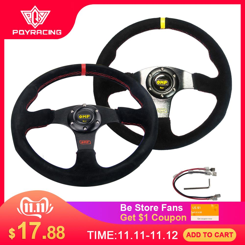 NEW 14inch 350mm Suede Leather Flat Rack Corn Drifting Steering Wheel with black box PQY-SW71