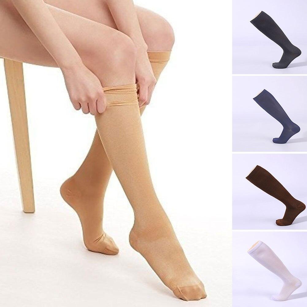 1Pair Compression Stockings Pressure Nylon Varicose Vein Stocking knee high Leg Support Stretch Pressure Circulation Stock