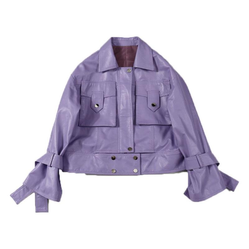 Autumn 2020 Commuter Splicing POLO Collar Short Violet Sheepskin Long Sleeve Leather Jacket