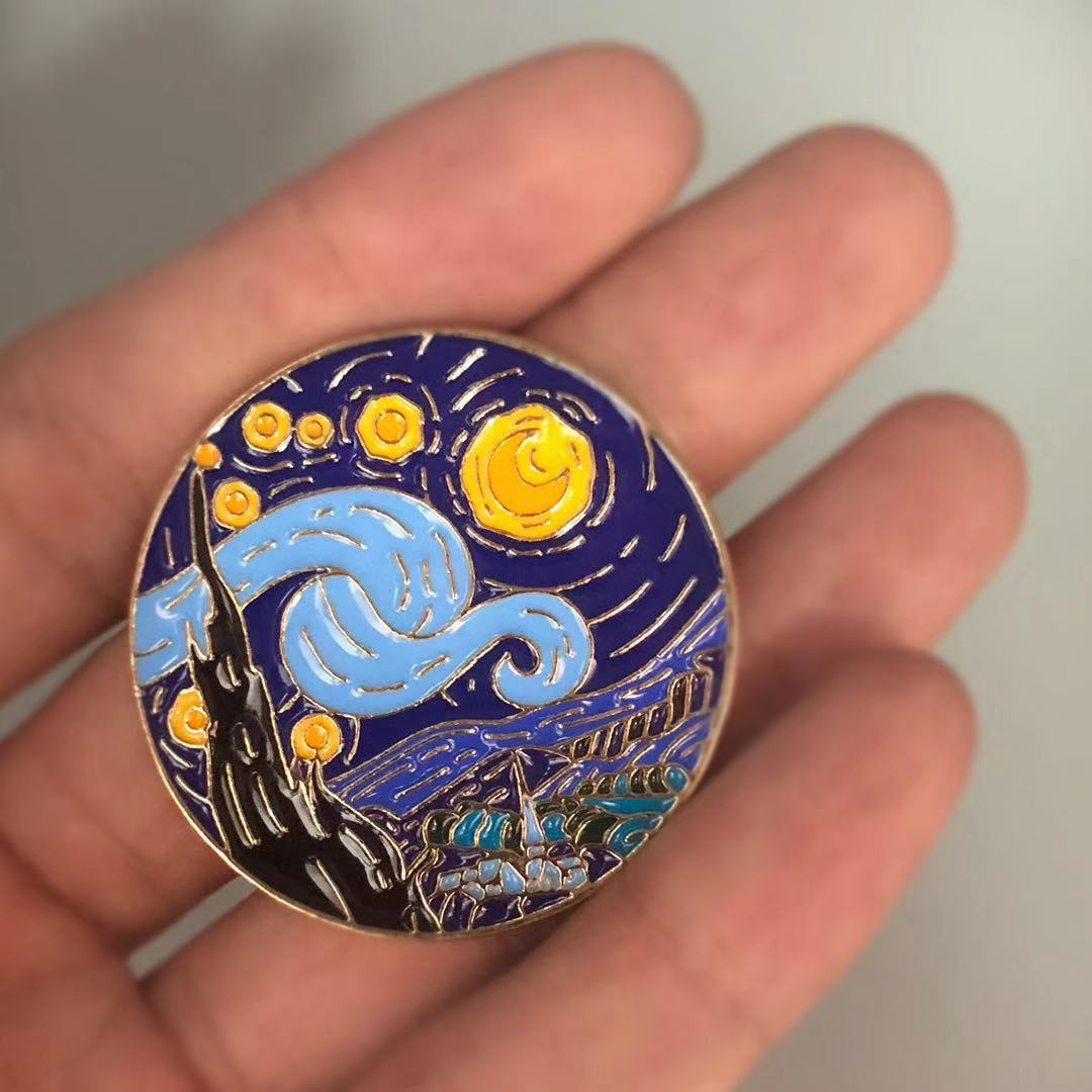 <font><b>Van</b></font> <font><b>Gogh</b></font> Starry Nacht Emaille Pin Brosche image