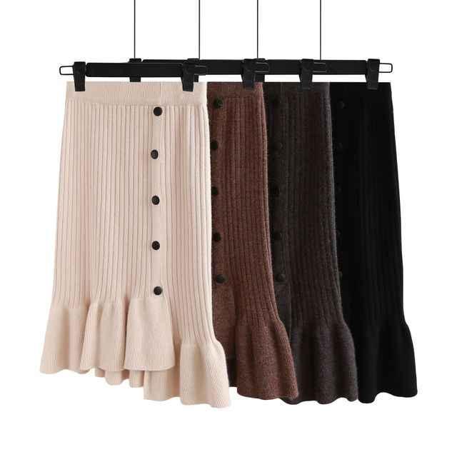 אלגנטית סרוג Bodycon חצאית נשים 2019 סתיו חורף אופנה מוצק גבוה מותן עיפרון חצאיות גבירותיי משרד לחצן בת ים חצאית