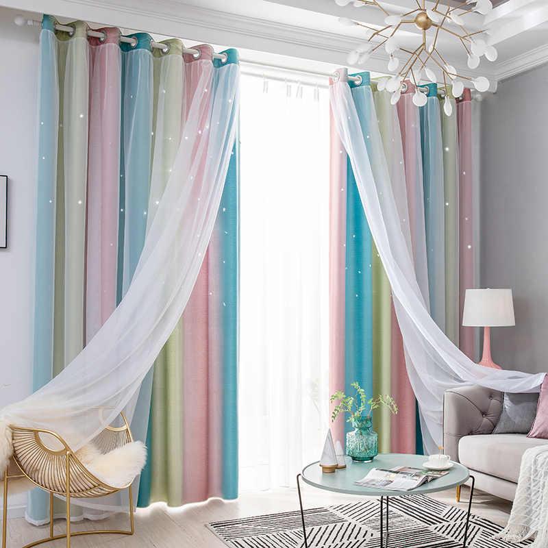 tiyana rideaux occultants violet degrade pour salon moderne solide rose draperies de fenetre chambre a coucher tulle bleu m080d