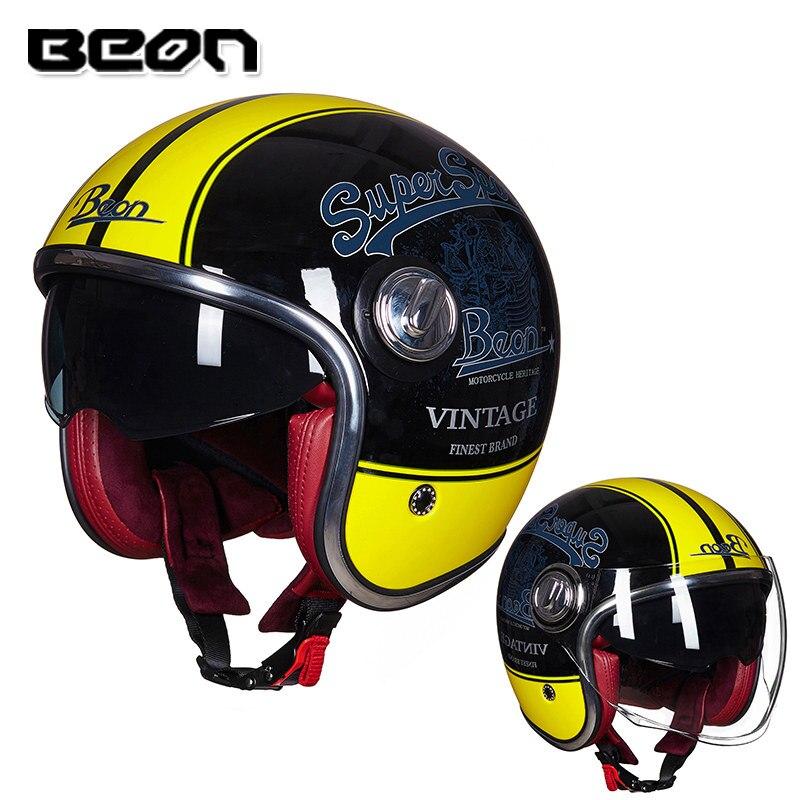 BEON B108A motorcycle helmet beon 3/4 open face dual lens visor vintage helmets retro casque Moto Casque Casco Capacete 2