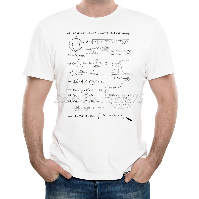 2019 Men's New Fashion The Math Answer Of Life Printed T-shirt Summer Cool Design Tops Soft Short Sleeve Tee