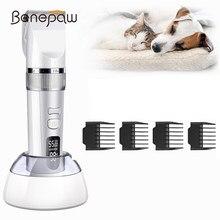 Benepaw profissional sem fio aparador de pêlos do cão recarregável poderoso motor display lcd lâmina ultra-afiada pet clipper grooming
