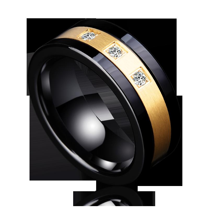 Nouveauté 8mm largeur noir tungstène bagues de fiançailles haute couleur or poli brossé finition incrustation trois pièces blanc CZ pierres
