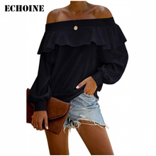 Echoine White Off The Shoulder Ruffle Blouse Sexy Slash Long Sleeve Blouse Top Black Shirts Female Autumn Pullovers Tops