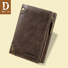DIDE Brand Cowhide mens Wallets Male Purse Short Genuine Leather Zipper Coin Purse Wallet Card Holder Fine Gift Box