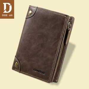 Image 1 - DIDE marka inek derisi erkek cüzdan erkek çanta kısa hakiki deri fermuar bozuk para cüzdanı cüzdan kart tutucu güzel hediye kutusu