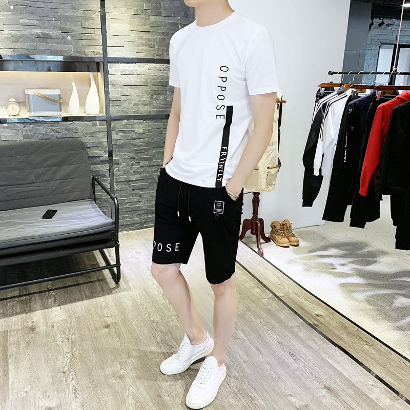2019 Summer New Style Men Korean-style Slim Fit Short Sleeve T-shirt Sports Suit Shorts Leisure Suit Crew Neck Lettered