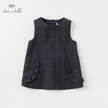 DB11559-2 dave bella autumn baby girls princess cute plaid dress children fashion party kids infant lolita clothes