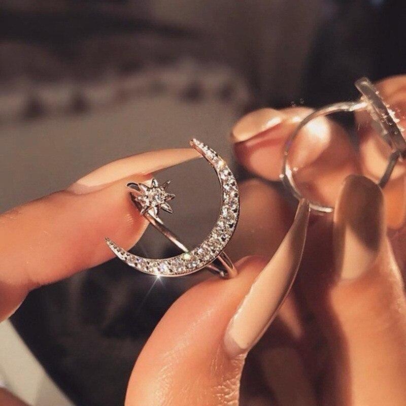 2021 винтажное минималистичное циркониевое Открытое кольцо с Луной и звездой для очаровательных женщин, вечерние богемные ювелирные изделия...