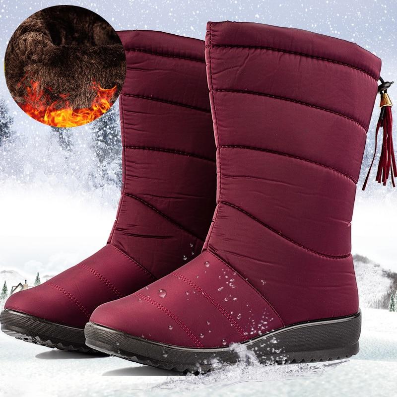 Winter Boots Sneakers Shoes Mid-Calf-Down Waterproof Bota Ladies Feminina Plush