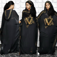Musulman Pakistan Muslim Women Maxi Chiffon Dress Dubai Abaya Robe Femme Islam Kaftan Batwing Sleeve Diamond Print African Dress