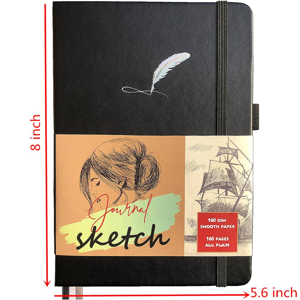 Black PU Leather Hardback Bullet Journal Sketchbook 160Gsm Ultra Paper 160 Blank Pages