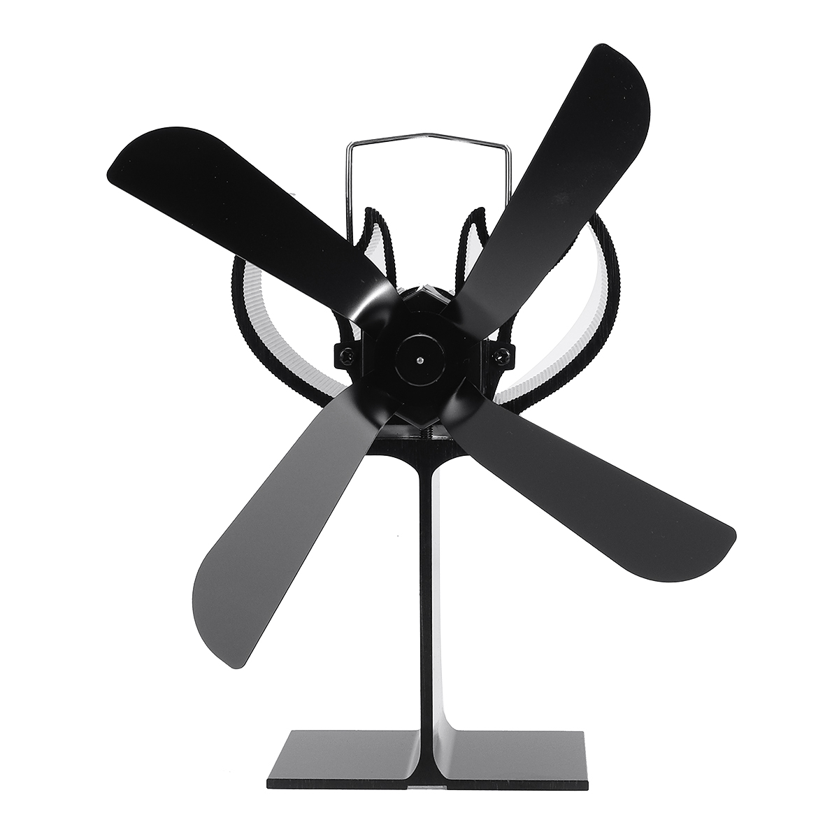 Fireplace 4 Blade Heat Powered Stove Fan Komin Log Wood Burner Eco Friendly Quiet Fan Home Efficient Heat Distribution Black