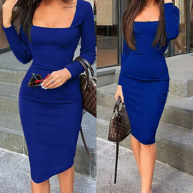 Elegant Dress Women Long Sleeve Bodycon Dress Ladies Autumn Casual Dress Party Dress Xmas Warm Cotton Winter Dress hot 1