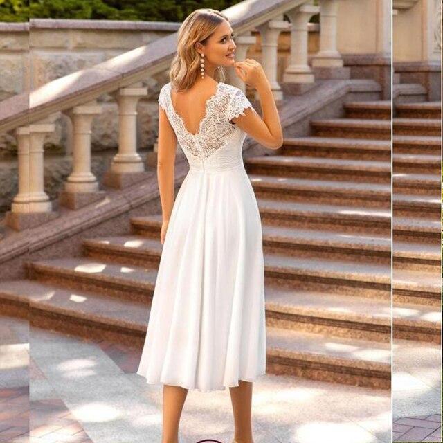 V-Neck Wedding Dress 2021 Short Sleeve Peals A-line Ankle Length Bridal Gown Robe De Mariee For Petite Women Brides Gorgeous 2