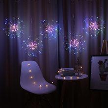 Guirlanda luzes ao ar livre fogo de artifício luzes de natal energia led string fio cobre fadas luzes decoração da festa natal lâmpada