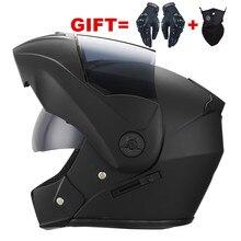 2 regalos Unisex de la motocicleta de carreras Cascos Modular Dual lente Motocross casco cara completa seguro casco abatible hacia arriba Cascos párr Moto kask