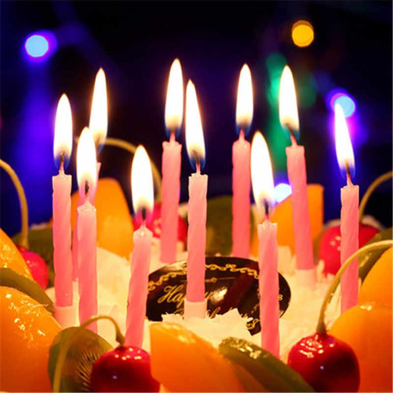 1 ชุด = 10pcsด้ายสีเทียนวันเกิดที่มีขาตั้งเค้กเทียนงานปาร์ตี้จัดงานแต่งงานตกแต่ง