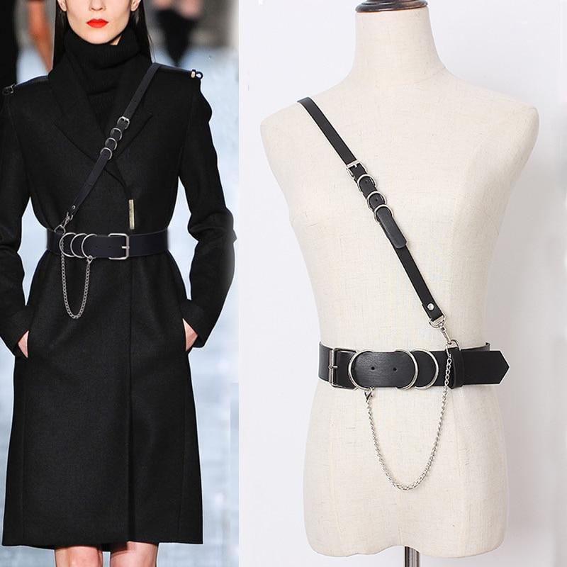 HATCYGGO Sexy Women Leather Shoulder Harness Lingerie Strap Female Trendy Body Bondage Waistband Punk Chain Belt For Women 1