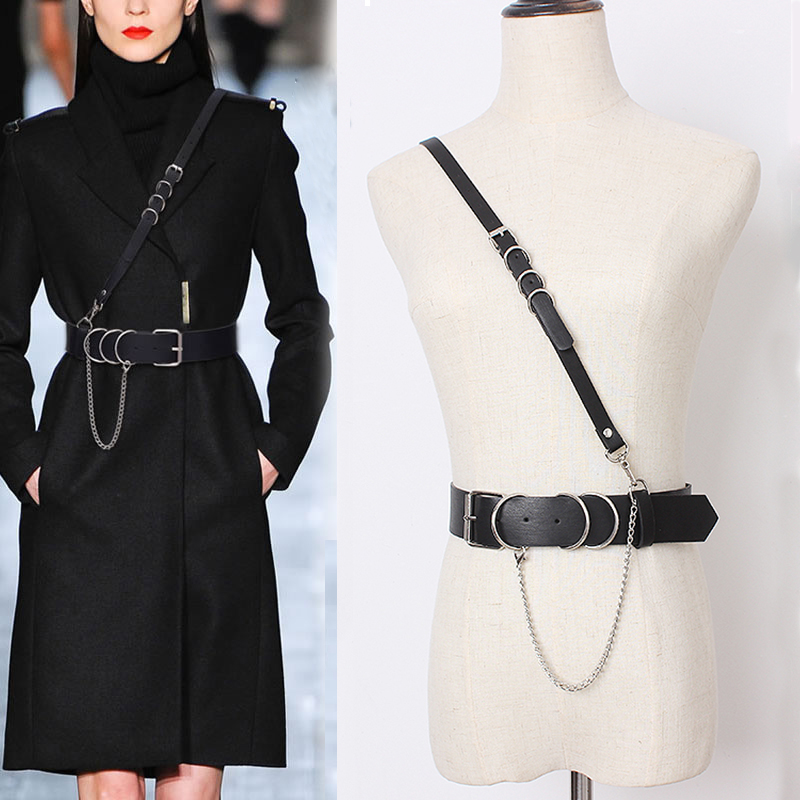 HATCYGGO Sexy Women Leather Shoulder Harness Lingerie Strap Female Trendy Body Bondage Waistband Punk Chain Belt For Women