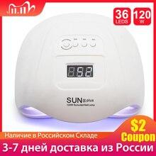 SUNx Plus lámpara UV para uñas, LED UV de 120W, 36 LED, con Sensor automático, 30s, 60s, 90s, secado de uñas con pegamento extendido